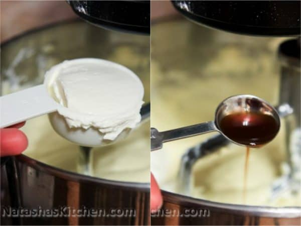 Two photos of cheesecake mixture being mixed in a mixer