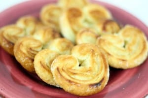 Palmiers, elephant ears, on a red plate
