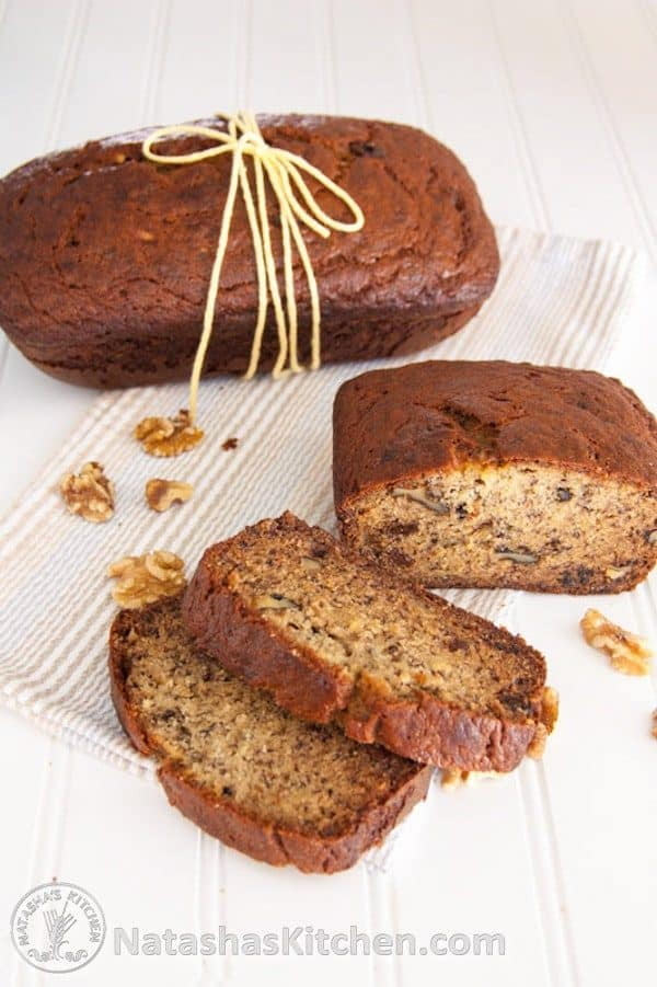 Moist banana nut bread on kitchen towel