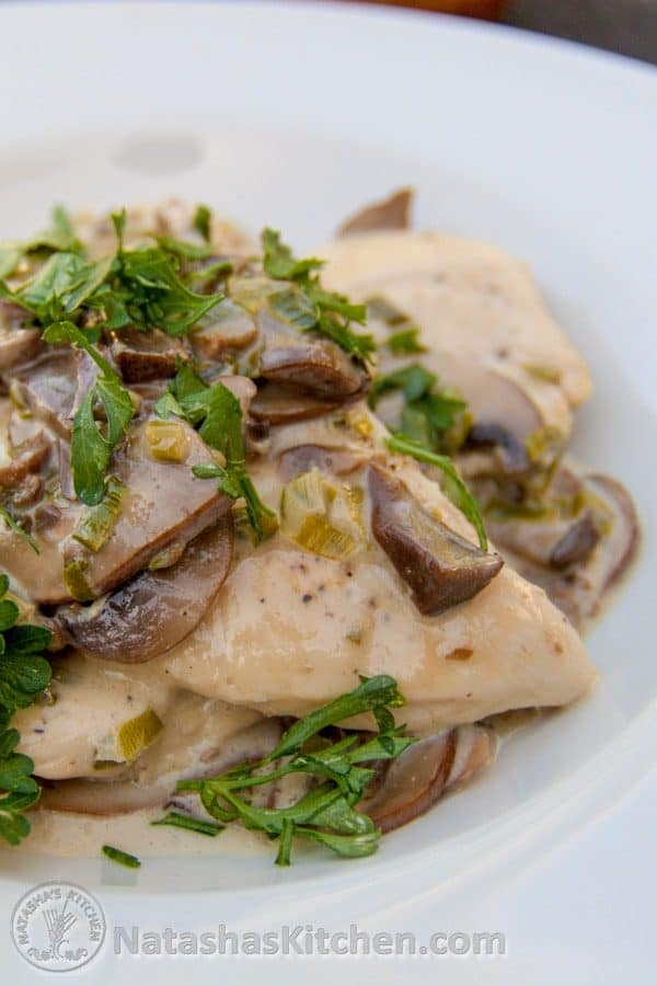 Chicken with Mushroom White Wine Cream Sauce