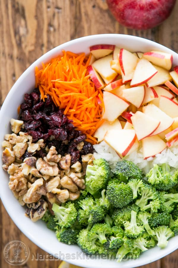 Broccoli Apple salad with crisp apples, carrots, cranberries and walnuts