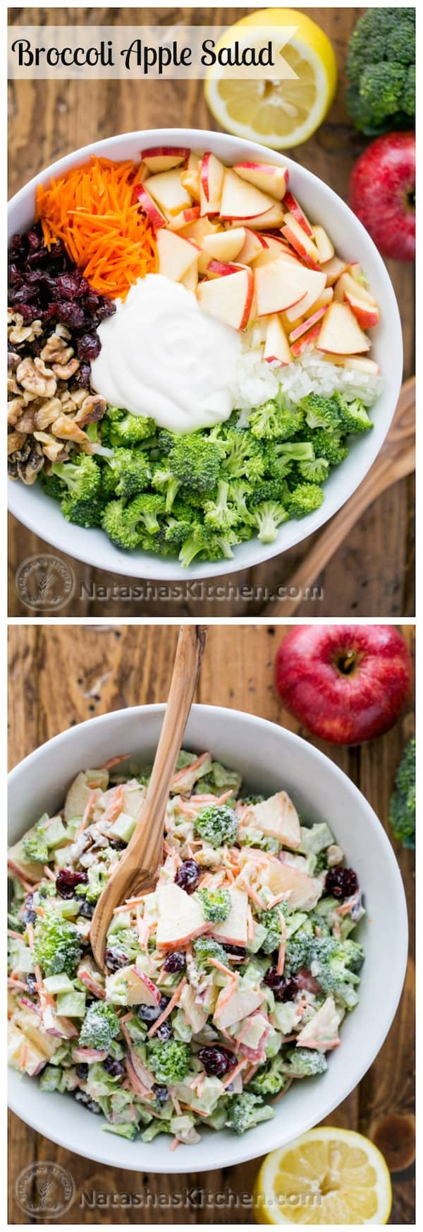 Fresh Broccoli Apple Salad with walnuts and a creamy lemon dressing