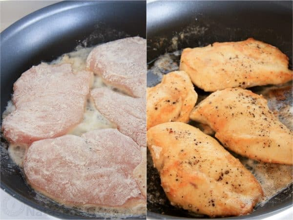 Two photos of chicken being fried in a skillet