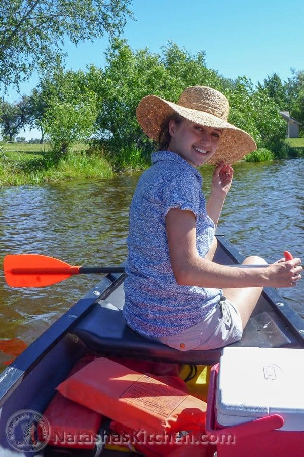 Natasha in a canoe