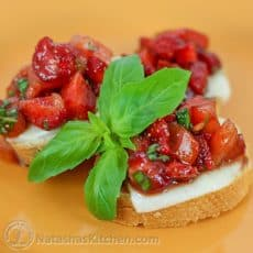 Serve this easy strawberry bruschetta recipe with the syrupy, balsamic-coated strawberries on top of bread.The bite-size pieces are perfect for appetizers.