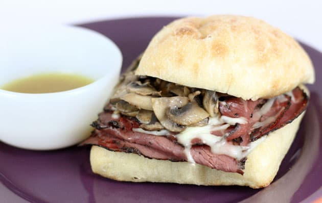 A French dip pastrami sandwich