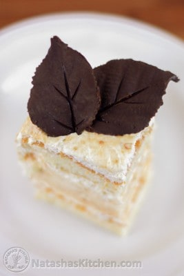 A piece of cake on a white plate garnished with chocolate leaves