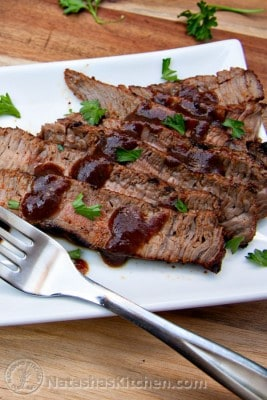 A white plate with spice-rubbed sirloin cut