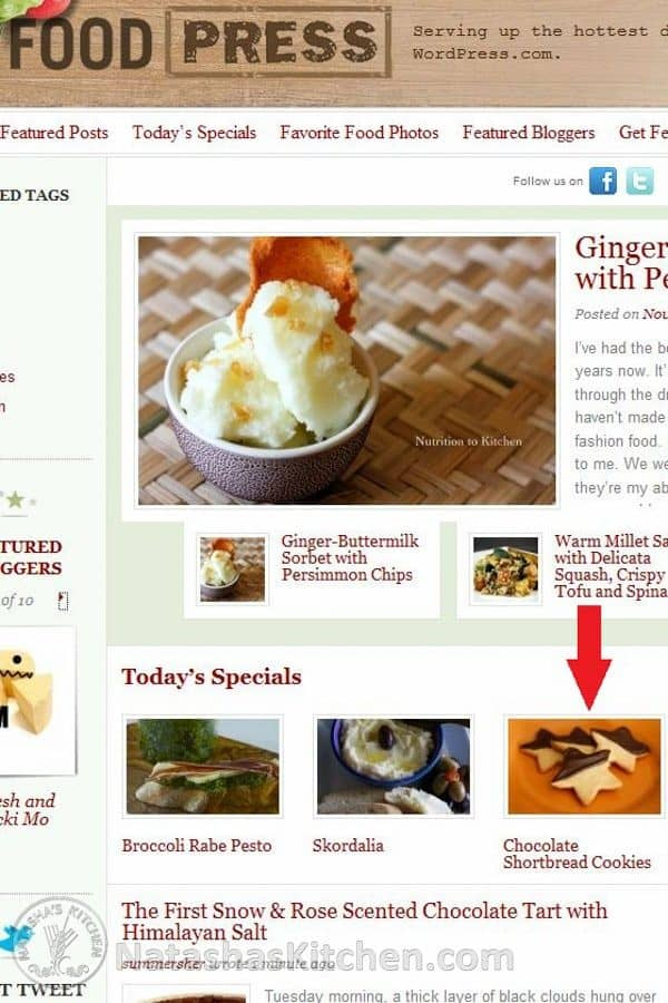 A screenshot of food press with an arrow pointing at chocolate shortbread cookies