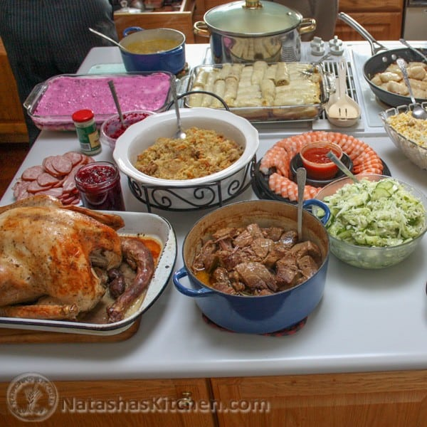A table full of food for Thanksgiving