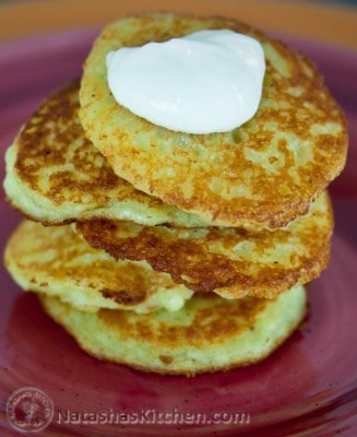 These potato pancakes have finely grated, raw potatoes and onion. It's a classic Ukrainian dish called Deruny. Our moms still make these deruny regularly.