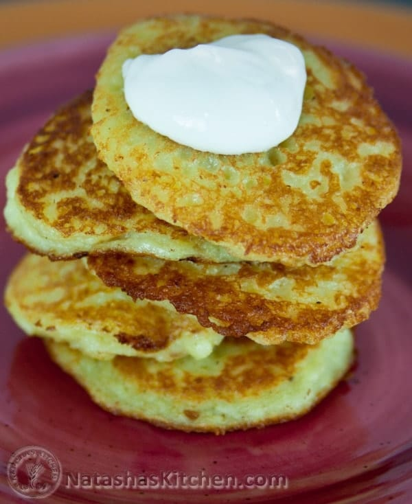 These potato pancakes have finely grated, raw potatoes and onion. It's ...