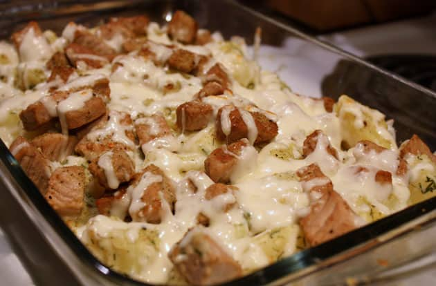 Baked cheesy pork and potato bake