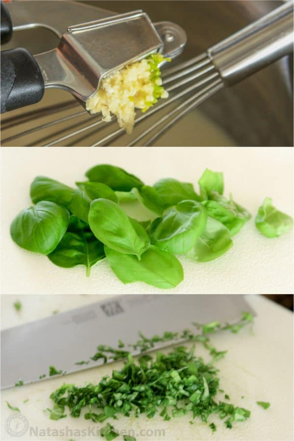 Three photos one of garlic being minced and two of basil leaves being cut