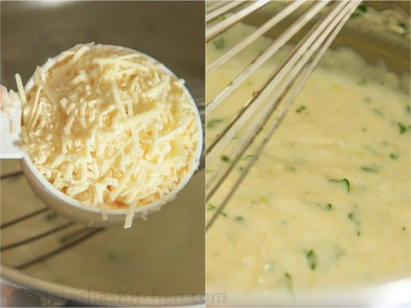 Two photos of creamy garlic sauce being made