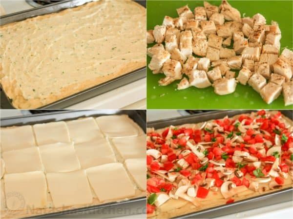 Four photos of the process to make a chicken pizza with creamy garlic sauce