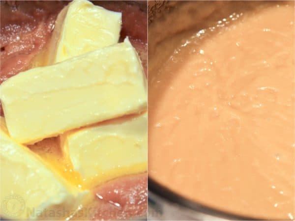 Two photos of four sticks of butter added into a mixture and whisked into it