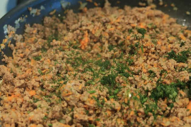 Ground meat mixture for meat piroshki