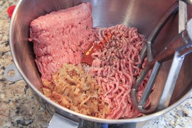Meat mixture in a mixer for Russian pelmeni