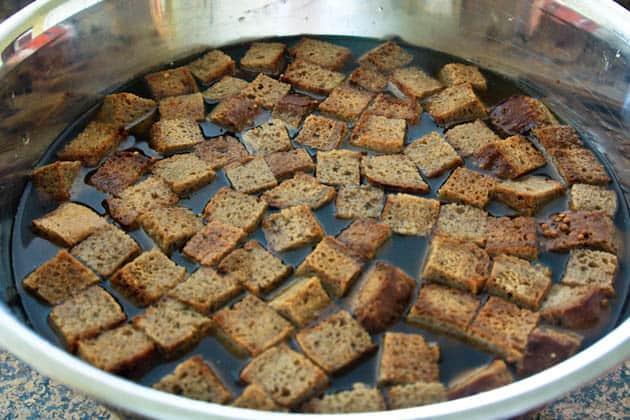 Bread in a bowl with kvas mixture