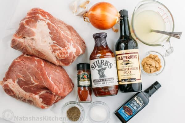 Ingredients for slow cooker pulled pork with bbq sauce