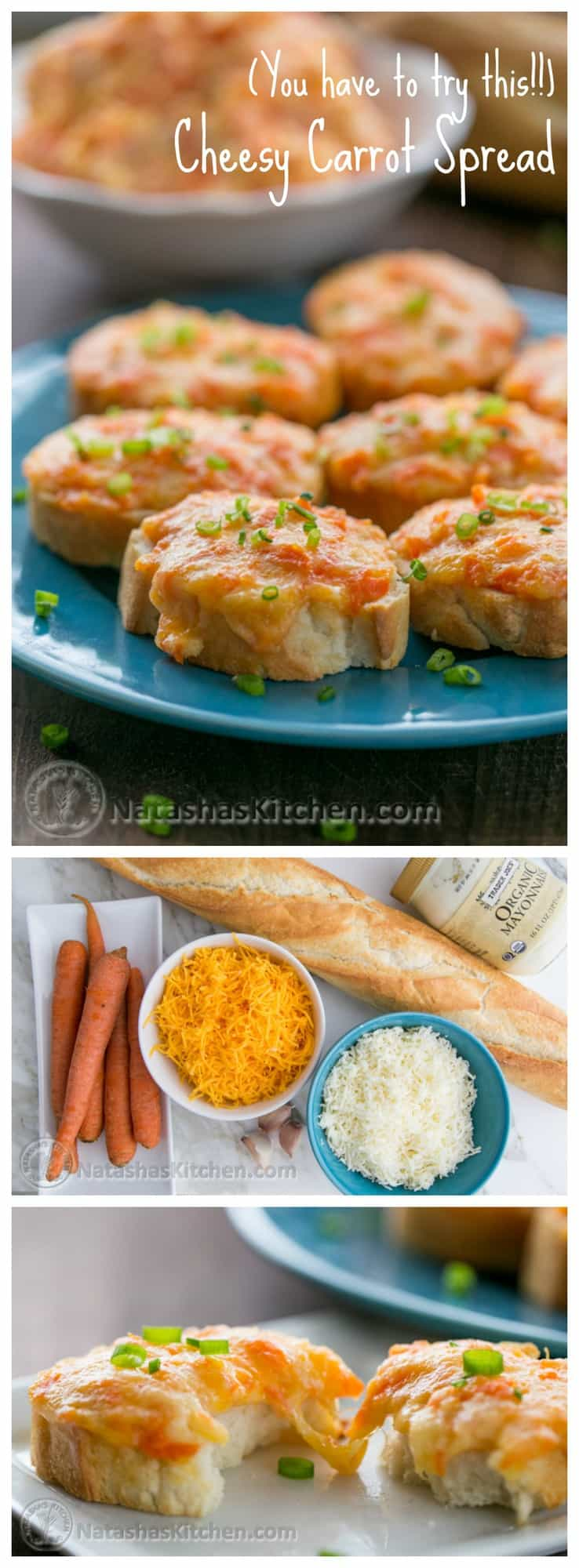 You have to try these Carrot and Cheese Crostini when they come out of the oven and the cheese is hot. Incredible! @NatashasKitchen