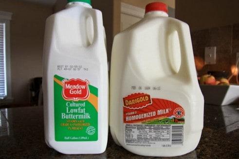A gallon of milk and a half-gallon of low-fat buttermilk