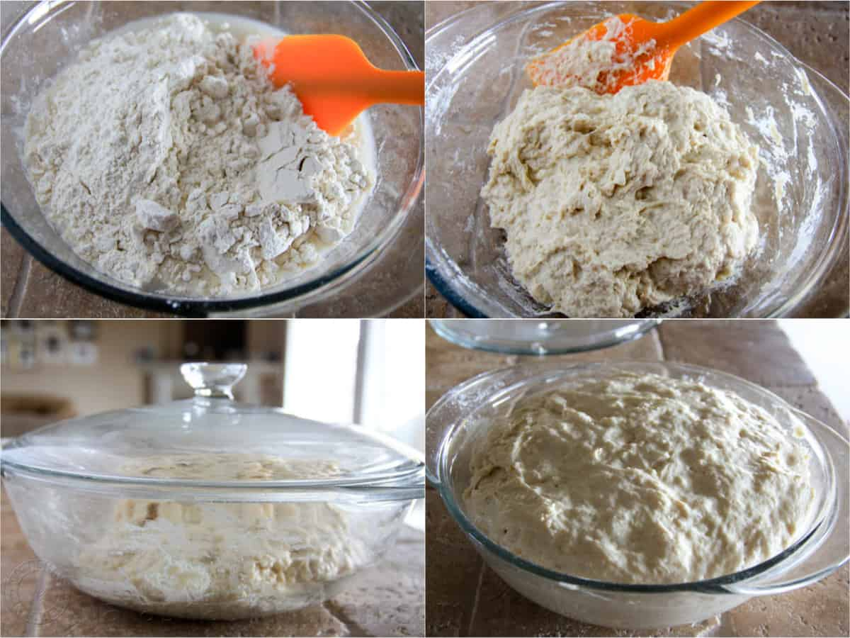 step by step how to make homemade flour in mixing bowl with spatula