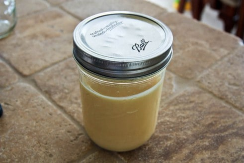 Condensed milk in a mason jar