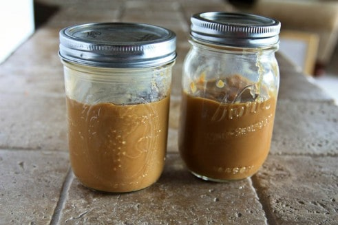 Two mason jars of dulce de leche