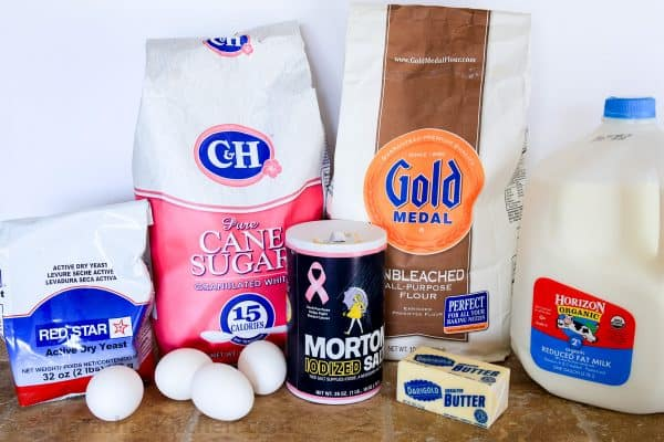 Ingredients for Portuguese Easter Bread on the table