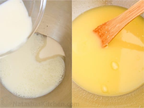 Two photos of milk and butter being combined in a bowl