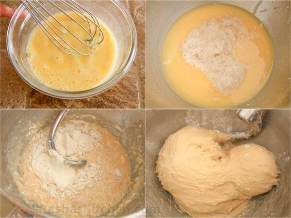 Four photos of dough being mixed in a bowl for Portuguese Easter bread