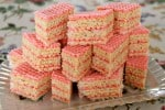 Slices of Russian wafer cake stacked on top of each other