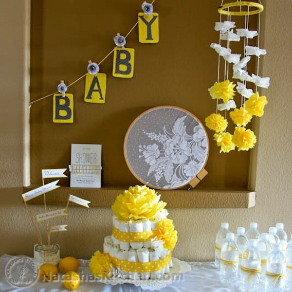 Yellow baby shower decor