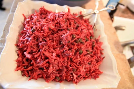 A plate of Russian beet salad