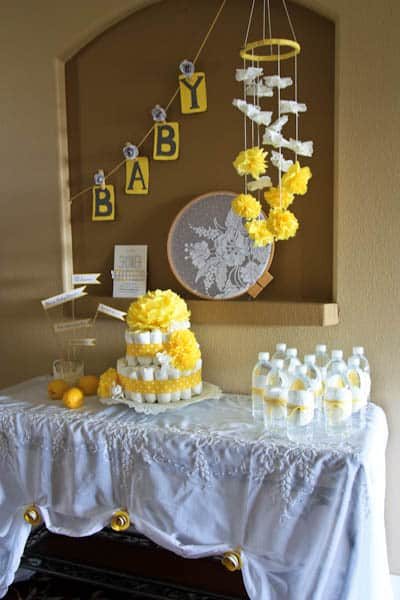 A yellow themed baby shower