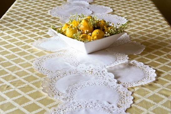 Yellow, lemon, baby shower table decorations