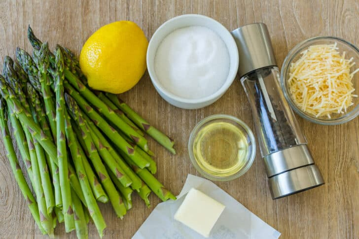 Ingredients for roasted asparagus spears with lemon and parmesan