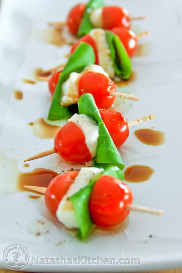 Ingredients for Caprese Salad Skewers: