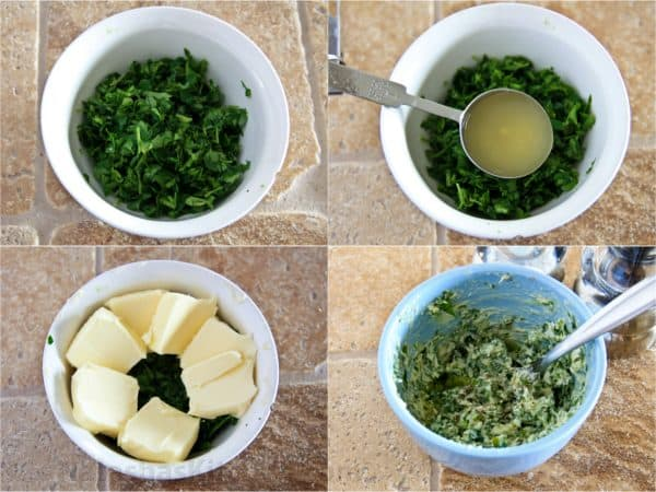 Four photos of parsley and lemon butter being mixed