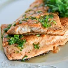 There's nothing fresher than catching your own trout and making it sizzle that same evening. The lemon and parsley butter are a great combination!