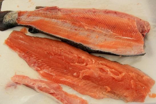 A trout cut in half