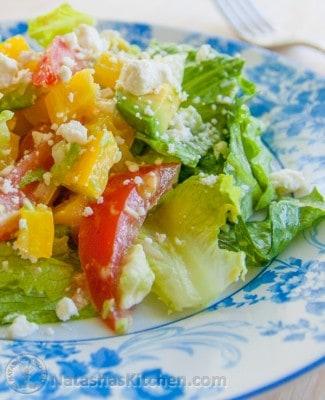 Avocado feta Caesar salad on a plate