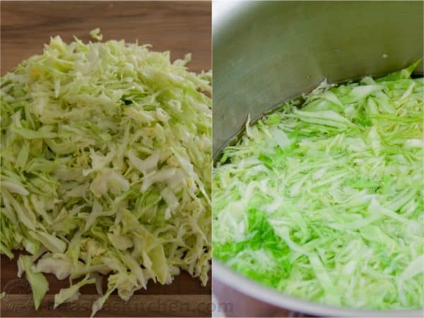 Two photos one of shredded cabbage on a cutting board and one of it in a pot with water