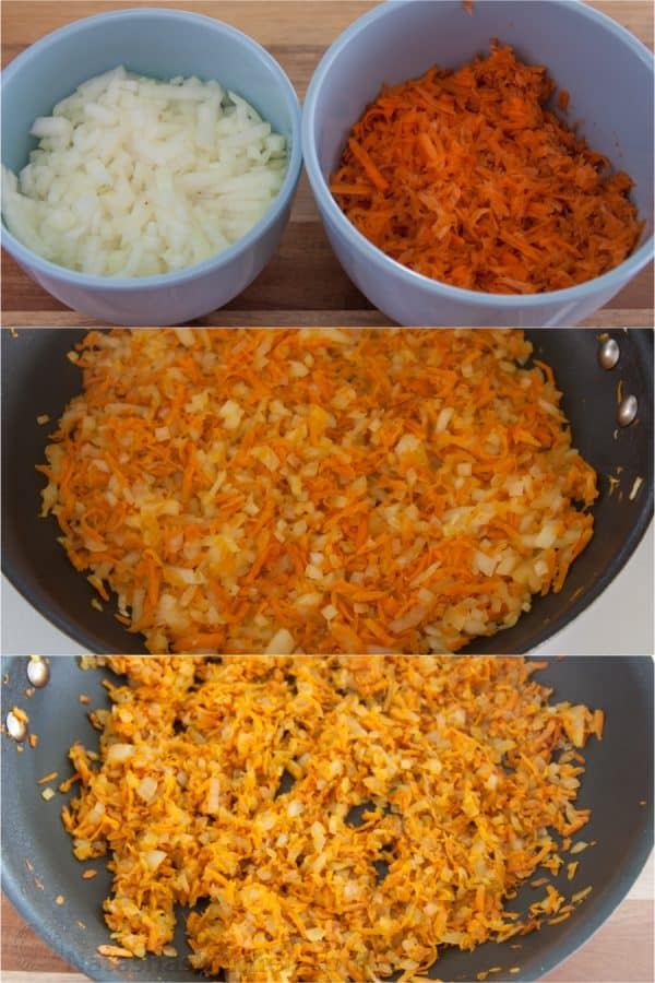 Three photos of diced carrots and onions being sautéed in a skillet