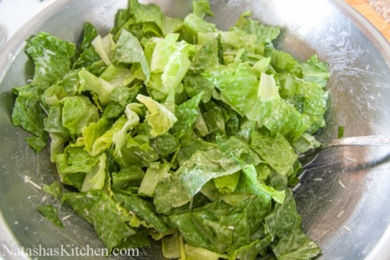 A bowl with romaine lettuce
