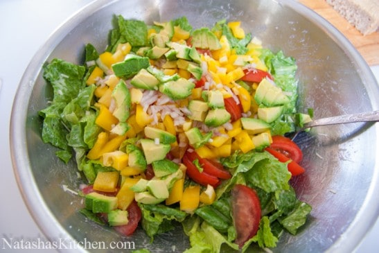 Avocado feta Caesar salad in a bowl
