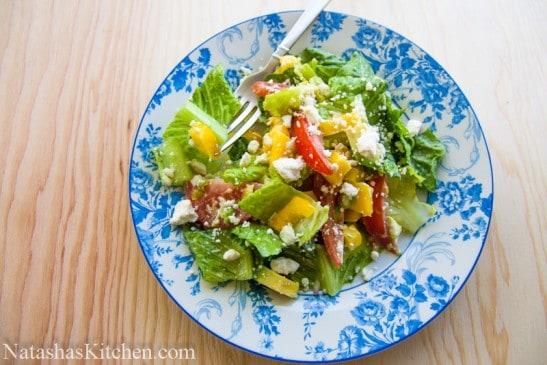 Avocado feta Caesar salad on plate