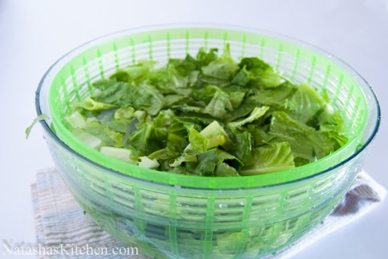 OXO salad spinner with romaine lettuce